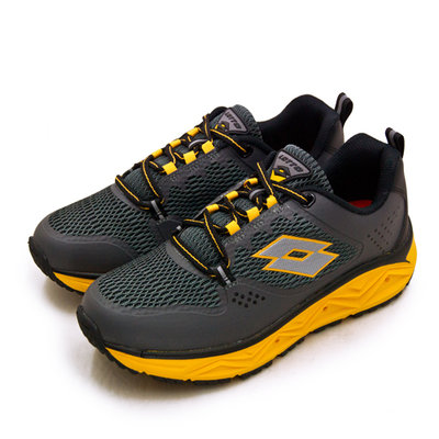 利卡夢鞋園–LOTTO 專業郊山戶外透氣越野跑鞋--AEROVE系列--灰黑黃--3008--男