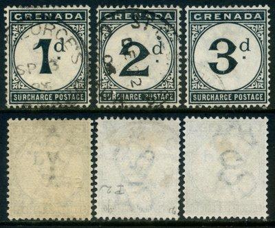郵紳_百年古典老郵_24540_格瑞那達_第一套欠資郵票_1892年_一套3全_信銷票_中上品項如圖_低價起標無底價