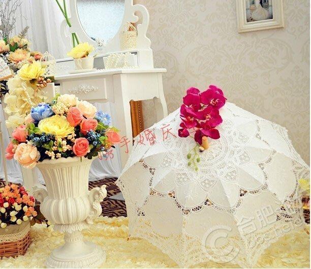【易發生活館】新品多種尺寸可選熱賣新款白色蕾絲裝飾傘 宮廷傘新娘公主工藝傘 婚慶拍攝道具傘 洋傘