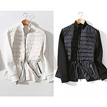 ~潮品聚落~經典黑白色立領收腰輕便針織羽絨拼接夾克外套秋冬女裝-2色4碼[HZ201108-2]