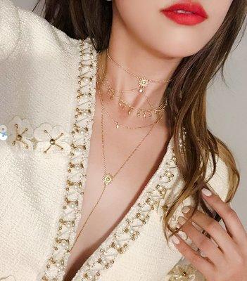 《巴黎拜金女》太陽流蘇頸鍊冷淡風鎖骨項鍊飾品頸帶