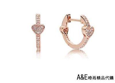A&E精品代購 PANDORA 潘朵拉 玫瑰金新款鑲鑽誘人的心形耳環 925純銀 CHARMS 美國正品代購