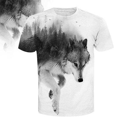 亞馬遜新品樹林狼頭像數碼印花短袖T恤 潮牌男裝大碼T恤外貿批發