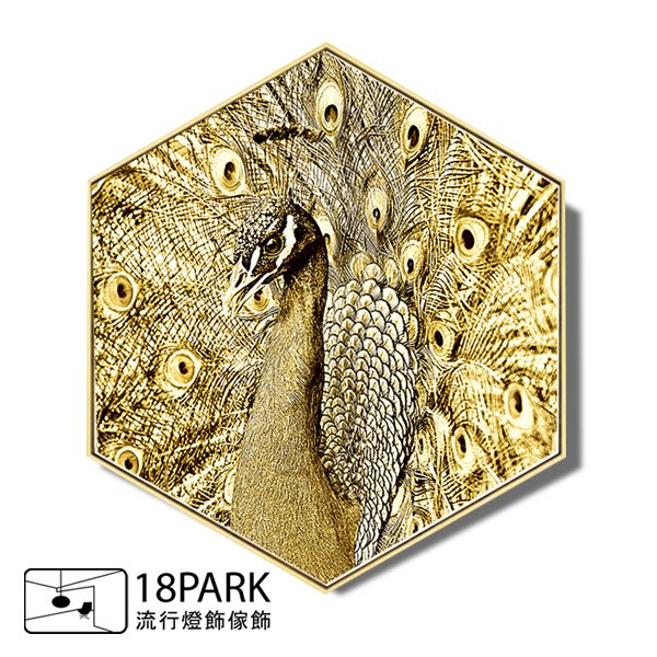 【18Park 】精緻細膩  peacock [ 畫說-擁抱金色-孔雀40*34.6cm ]