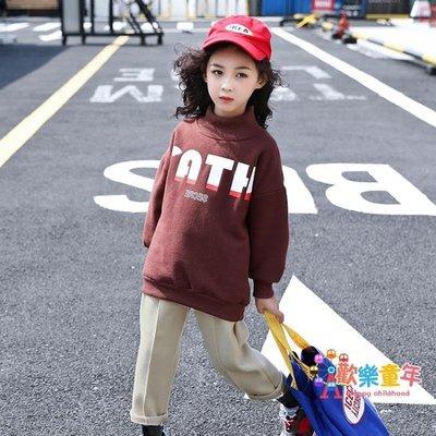 女童刷毛連帽T恤新款冬裝中大童洋氣上衣韓版加厚中長款套頭衫潮