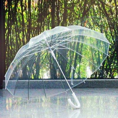 骨男女復古透明 雨傘 長柄透明傘自動廣告傘創意雨傘