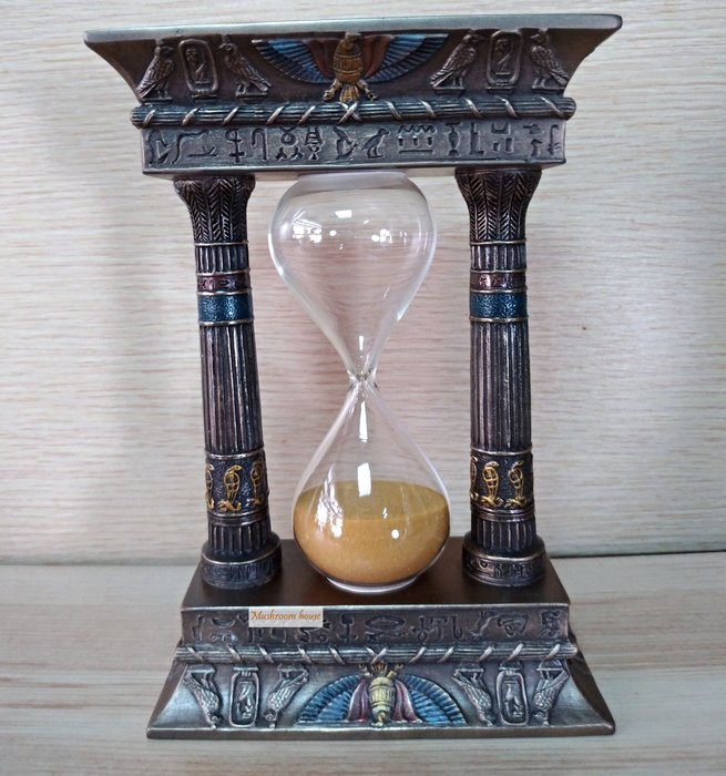 點點蘑菇屋 歐洲精品仿銅埃及圖騰沙漏擺飾 金沙計時器 古埃及文明 埃及古文 Egypt 飾品 藝術品 現貨
