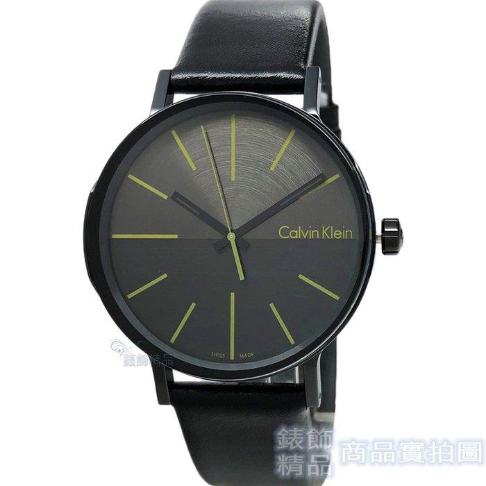 Calvin Klein CK K7Y214CL Boost 鐵灰+綠 髮絲紋錶盤 黑皮帶男錶【錶飾精品】