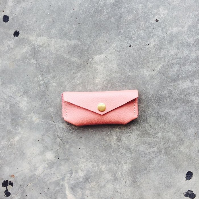 粉紅 真皮零錢包 印鑑包 掌握 嗅皮手作