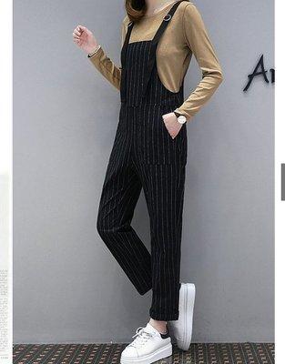黑色5XL有現貨 大尺碼套裝 大尺碼長袖上衣+背帶長褲兩件套 大尺碼吊帶褲套裝 87534