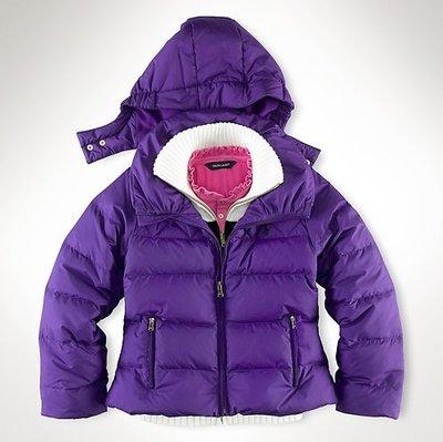 (((二手特價))) 美國 RALPH LAUREN POLO 深藍繡馬亮紫色連帽羽絨外套 (L 12/14)
