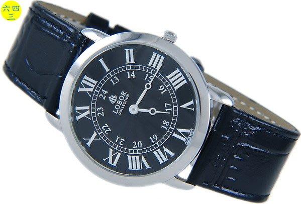 @(六四三精品)@LOBOR(真品)手錶.薄型斯文外型..不銹鋼錶殼及錶扣!黑!
