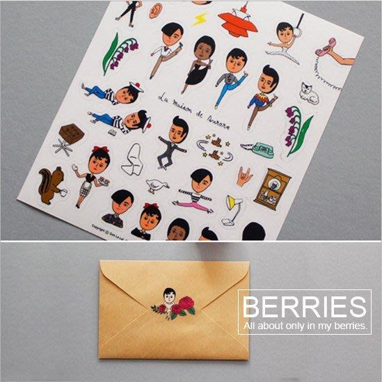 貼紙 OOHLALA 怪叔叔貼紙 藍綠組 韓國文具 手帳裝飾貼紙 Berries【OH012】