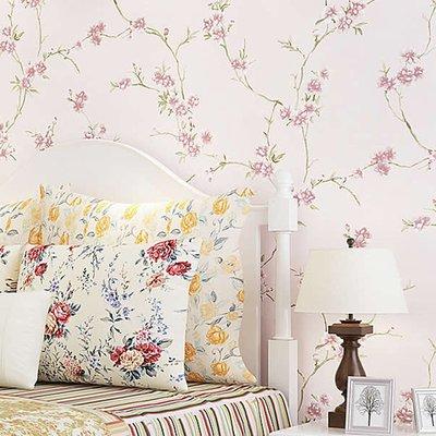 壁紙 壁貼 田園小花精致唯美立體壓花墻紙 溫馨浪漫臥室客餐廳床頭背景壁紙