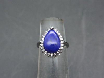 《青金石專區》《戒指》天然青金石Lapis lazuli 水滴豪華 戒指 戒子 戒圈#10