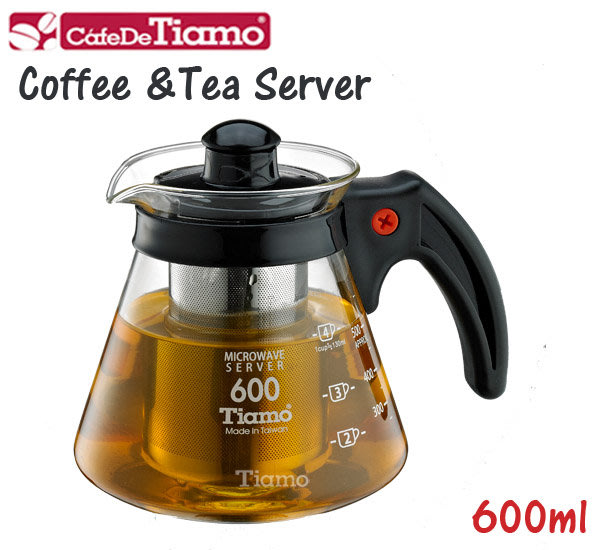 【ROSE 玫瑰咖啡館】 Tiamo 兩用耐熱玻璃壺600cc附不銹鋼濾網-黑色
