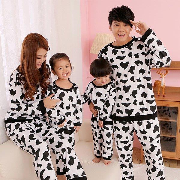 5Cgo【鴿樓】會員有優惠19071800839 韓國女可愛薄款長袖睡衣 情侶家居服套裝 奶牛親子裝 大人款