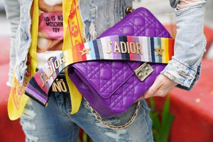 CHRISTIAN DIOR Miss Dior M0210 OGAI Cannage Bag 中型羊皮迪奧小姐金鍊紫