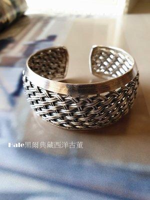 黑爾典藏西洋古董~純手工980銀編織造型純銀手環~泰國手工美式壁貼水晶燈