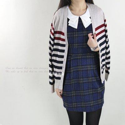 韓國連線 條紋針織感毛料長袖外 ~桔子瑪琪朵