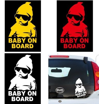 【PASS】BABY ON BOARD 小孩 汽車貼反光車貼 警示貼 裝飾貼紙 警示安全寶寶貼紙 TOYOTA HONDA