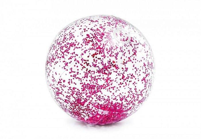 [衣林時尚] INTEX 閃亮沙灘球 (粉) 充氣直徑約40cm 58070