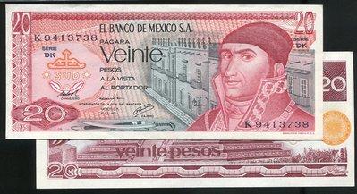 MEXICO (墨西哥紙幣), P64d , 20-PESO , 1977 ,品相全新UNC
