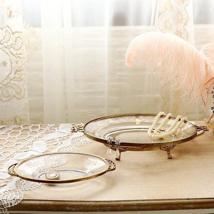 〖洋碼頭〗印度進口 手工製作 復古黃銅玻璃雕花託盤飾品擺件 極美 shx245