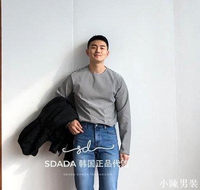韓國男裝代購19新款 韓版圓領微闊條紋長袖T恤打底衫 低價 批發