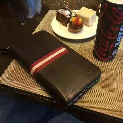 ╭☆包媽子店☆BALLY 咖啡色全牛皮男士錢包/手包TEVIN