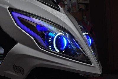 SYM NEW FIGHTER 遠近魚眼HID大燈模組改裝 LED內外光圈 天使眼 惡魔眼 鋼鐵人 電鍍飾圈 H1