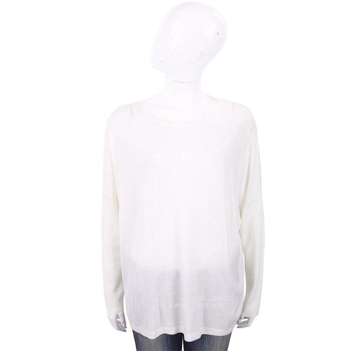 米蘭廣場 ALLUDE 100%羊毛米白色圓領針織羊毛衫 1740251-03