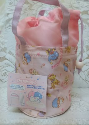 雙子星店 Sanrio Little Twin Stars 雙子星 Kiki Lala 手挽粉紅飯壺/盒袋 保溫/保凍 袋 日本