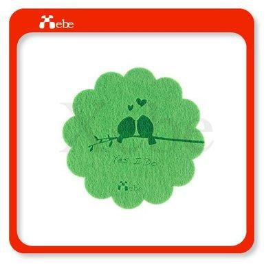 創意婚禮小物 高質感羊毛氈杯墊 (綠色)