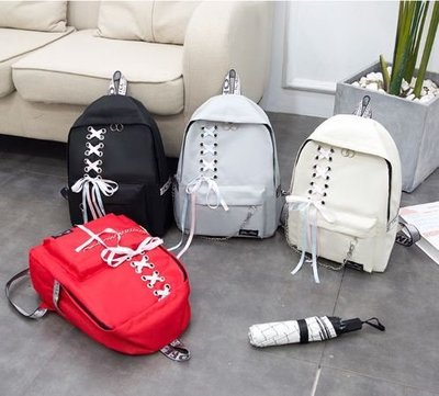 ღ~{ 現貨 }~ ღ新款韓版 彩帶帆布後背包 書包 背包 簡約雙肩包 初中學生高中大學生書包