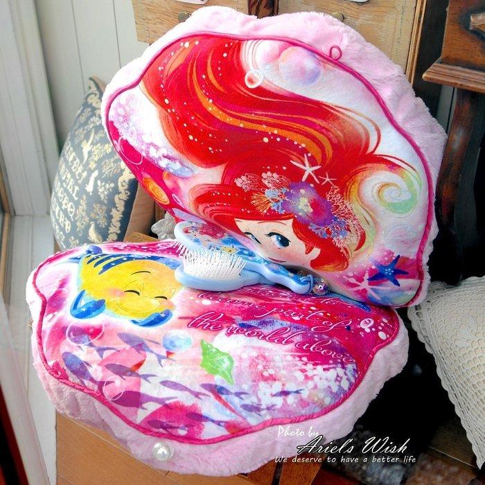 Ariel's Wish預購-日本東京Disney迪士尼愛麗兒小美人魚粉紅色夢幻海底泡泡珍珠貝殼抱枕靠墊可摺疊收納-兩用