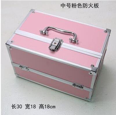 【優上】手提大號化妝箱專業化妝師紋繡工具箱彩妝箱中號粉色30cm