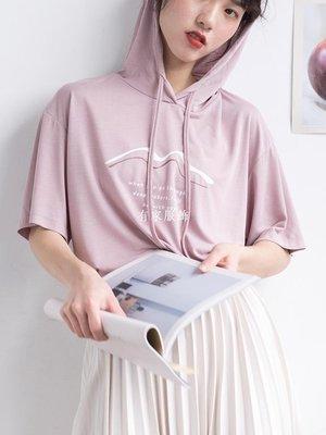 有家服飾連帽短袖T恤女字母印花體恤寬松2019新款夏季薄款上衣百搭正韓潮