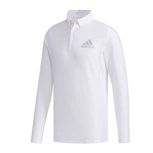 [小鷹小舖] ADIDAS GOLF L/S POLO 阿迪達斯 高爾夫 男長袖POLO衫 吸汗排汗面料 白/藍 共兩色