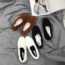 Freedom~女鞋白色毛毛鞋女冬外穿內增高平底鞋粉色羊羔毛女鞋一腳蹬網紅女鞋