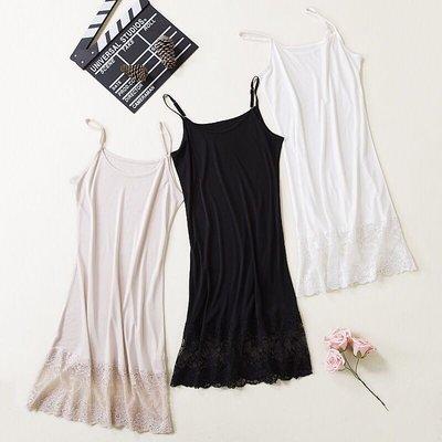 新款桑蠶絲蕾絲花邊針織款 性感連身裙 睡裙 內搭裙 M 白色*2 M黑*1 .