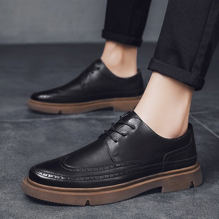 TIME&NES~皮鞋男正韓布洛克男鞋夏季潮鞋商務百搭男士休閒鞋黑色潮流鞋子男