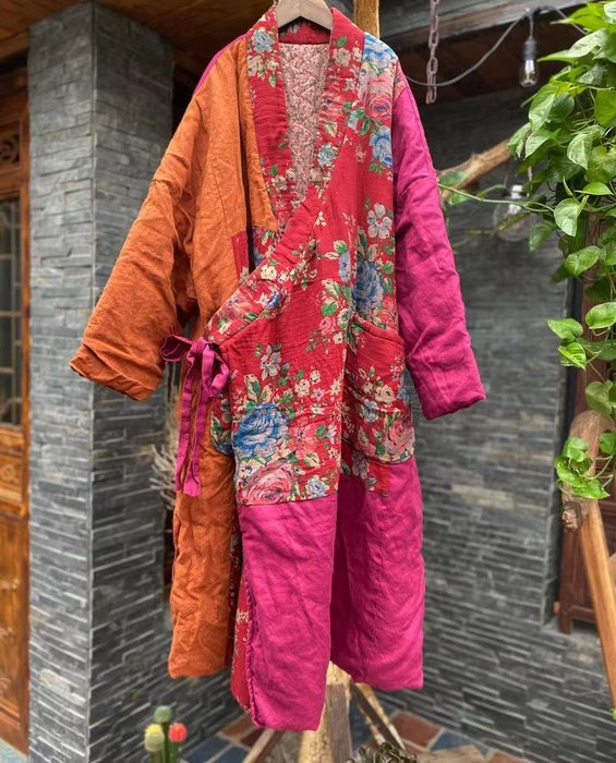 【子芸芳】原創寬鬆繫帶拼接斜襟復古棉麻棉衣外套棉袍