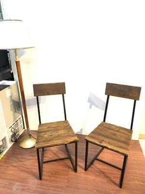 工業風實木餐椅2入組不拆賣/課桌椅/會議椅/洽談桌椅/書桌椅/休閒椅/會客椅/洽談椅/咖啡椅A3386【晶選二手傢俱】