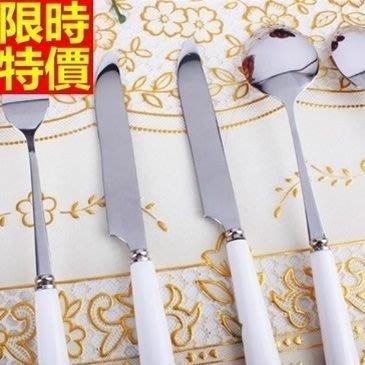 西式餐具組含刀叉餐具-精美玫瑰花不鏽鋼牛排刀子叉子勺湯匙6件套西餐具套組68f11[德國進口][巴黎精品]