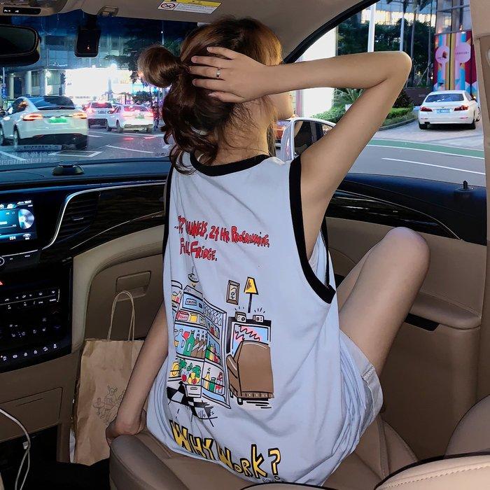 韓版 平口T恤 一字肩 中長款上衣撞色運動背心寬松印花無袖T恤女學生
