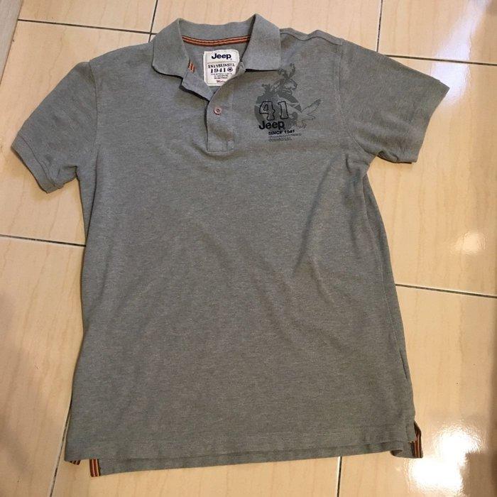 Jeep 男生純棉灰色短袖Polo 衫 M號