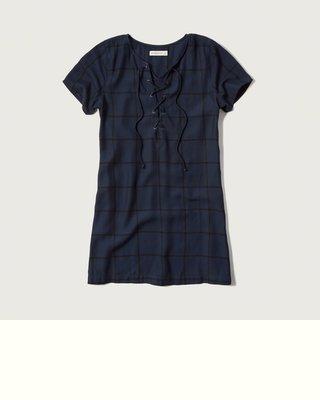 Maple麋鹿小舖 Abercrombie&Fitch * AF 藍色格紋胸口綁帶洋裝* ( 現貨S號 )