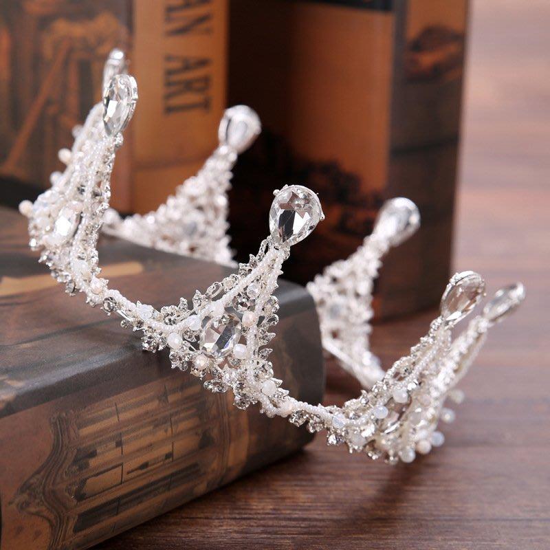 【叮叮親子商城】新款兒童主持人頭飾巴洛克水鉆手工整圈皇冠女童生日禮物公主王冠