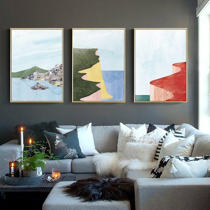 抽象現代簡約禪意形意色塊風景山脈裝飾畫芯高清微噴打印壁畫畫心(不含框)
